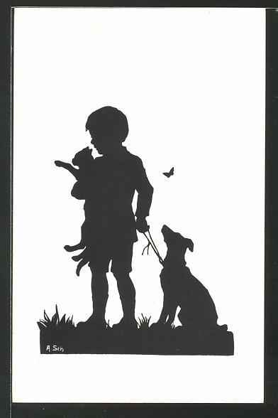 Künstler-AK Anna Schirmer: Kleiner Junge mit seinem Hund