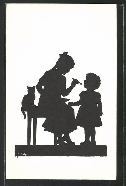 Künstler-AK Anna Schirmer: Mädchen füttert ihre kleine Schwester