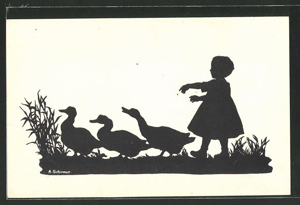 Künstler-AK Anna Schirmer: Kind watschelt mit den Enten