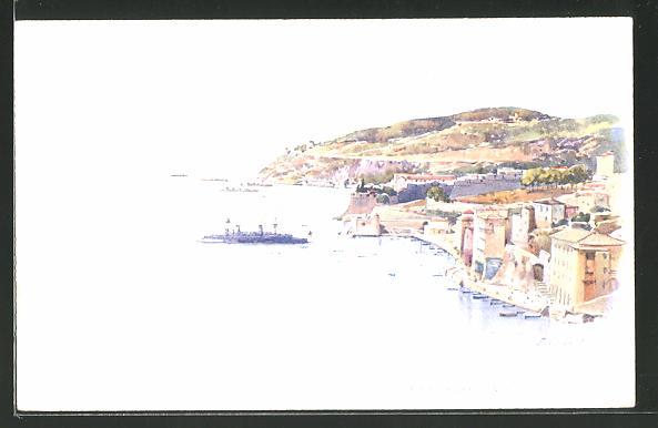 Künstler-AK Ernest Lessieux: Villefranche, Totalansicht aus der Vogelschau