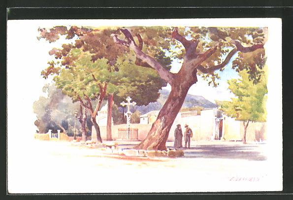Künstler-AK Ernest Lessieux: Cimez, Partie am Denkmal