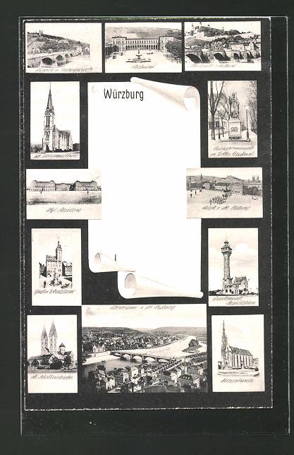 AK Würzburg, Bahnhof, kgl. Residenz und Festung