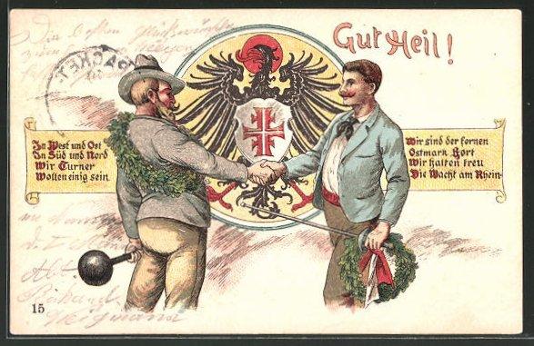 Lithographie Gut Heil!, Fechter & Gewichtheber reichen sich die Hand, Wappen, Packet Fahrt
