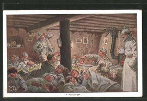 Künstler-AK Arthur Thiele: Nachtlager im Schützengraben