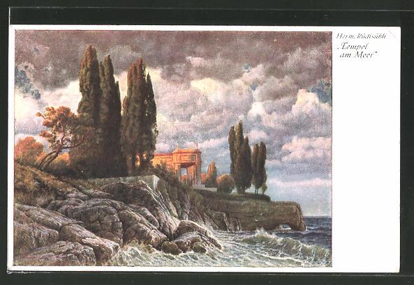 Künstler-AK Hermann Rüdisühli: Tempel am Meer