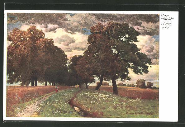 Künstler-AK Hermann Rüdisühli: Feldweg an einem Herbsttag