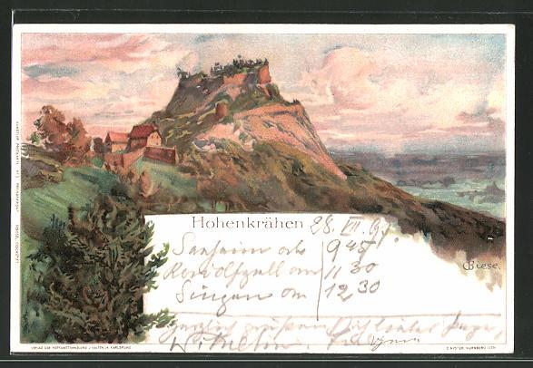 Künstler-AK Carl Biese: Blick auf die Burg Hohenkrähen