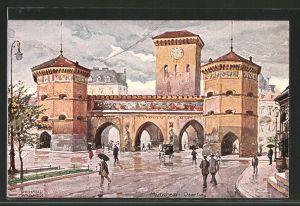 Künstler-AK Richard Wagner: München, Strassenpartie am Isartor