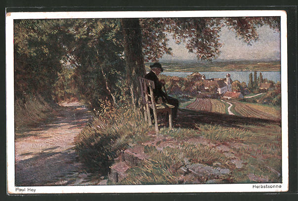 Künstler-AK Paul Hey: Alter Mann geniesst auf der Bank die Herbstsonne