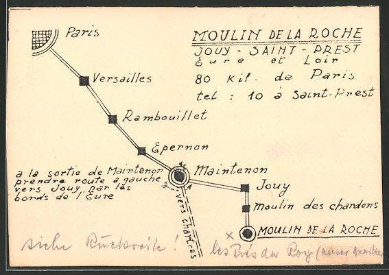 Künstler-AK Schützengrabenkunst, Landkarte mit Ortschaften zwischen Paris und Moulin de la Roche