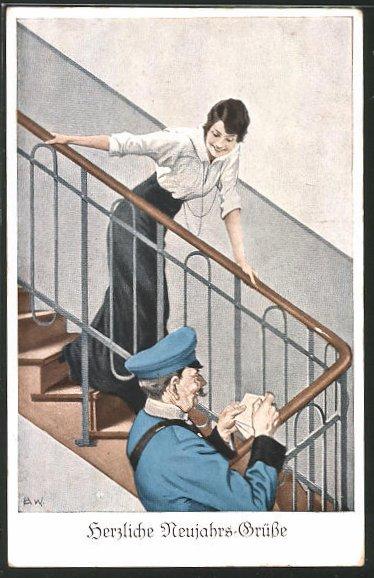 Künstler-AK Brynolf Wennerberg: Postbote bringt der Frau einen Feldpostbrief im Treppenhaus