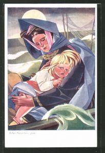 Künstler-AK Zofia Stryjenska: Mutter und Kind verzweifelt auf dem Meer