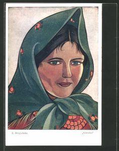 Künstler-AK Zofia Stryjenska: Góralka, Frau mit Kopftuch