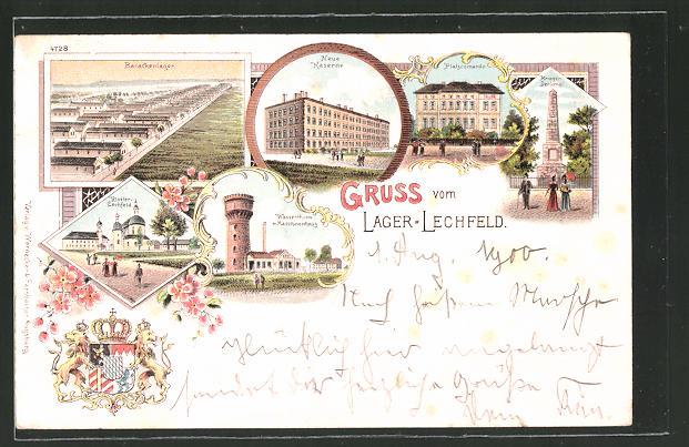 Lithographie Lager-Lechfeld, Barackenanlagen, Kloster Lechfeld, Neue Kaserne