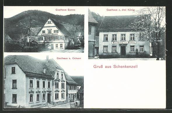 AK Schenkenzell, Gasthaus zum Ochsen, Gasthaus zum drei König, Gasthaus Sonne