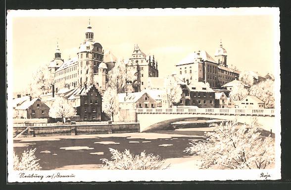 AK Neuburg, Ortspartie mit Brücke und Burg im Winter