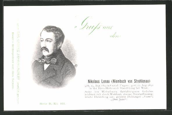 AK Portrait des Dichters Nikolaus Lenau
