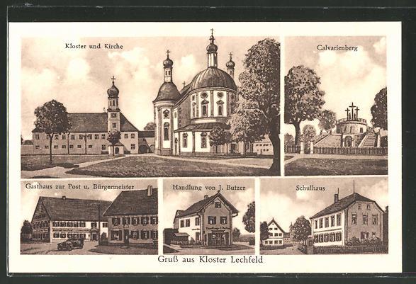 AK Kloster Lechfeld, Schulhaus, Handlung von J. Butzner, Gasthaus zur Post und Bürgermeister