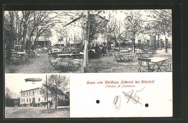 AK Zöckeritz, Zeppelin über dem Gasthof Waldhaus Zöckeritz