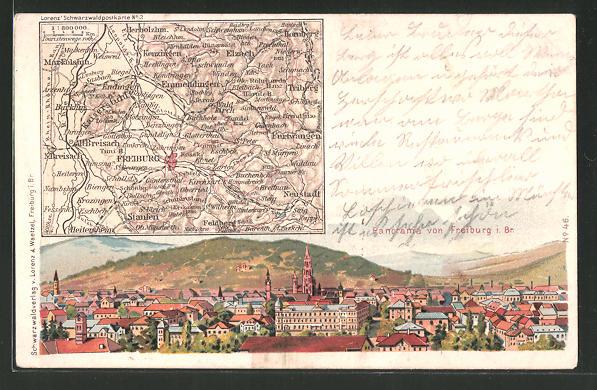 Lithographie Freiburg, Panorama aus der Vogelschau, Landkarte der Stadt und der Umgebung