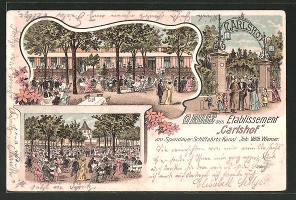 Lithographie Berlin-Charlottenburg, Gasthaus Carlshof am Spandauer Schiffahrts-Kanal