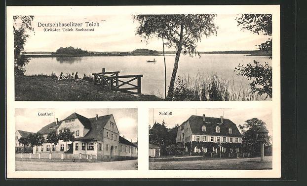 AK Deutschbaselitz, Gasthof Deutschbaselitz, Schlos, Deutschbaselitzer Teich