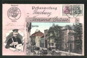 AK Duisburg, Strasse am Kuhtor mit Strassenbahnen, Postbote mit Brief
