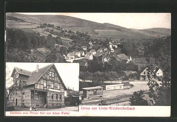 AK Unter-Waldmichelbach, Gasthaus zum Pfälzer Hof, Totalansicht aus der Vogelschau
