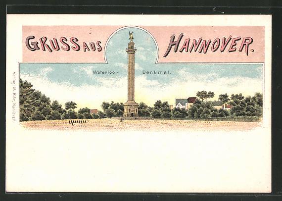 Lithographie Hannover, Totalansicht des Waterloo-Denkmal