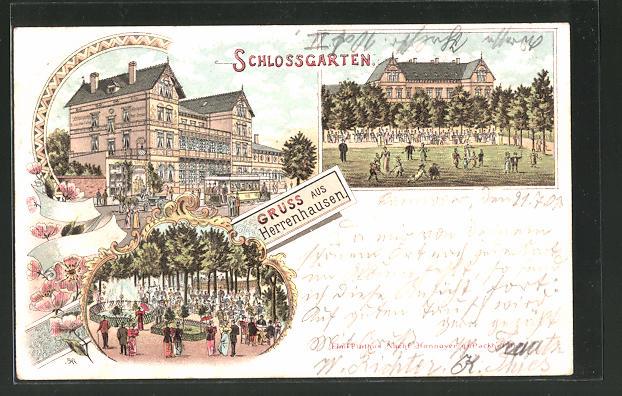 Lithographie Herrenhausen, Strassenbahn vorm Gasthaus Schlossgarten