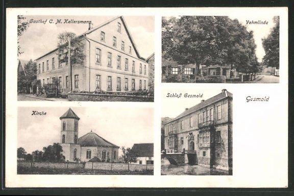 AK Gesmold, Gashof C. M. Kellersmann, Kirche, Schloss Gesmold