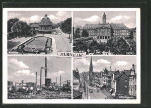 AK Herne, Bahnhof, Zeche Friedrich der Grosse, Bahnhofstrasse, Rathaus