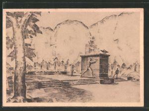 AK Berlin-Lichterfelde, Denkmals Werbekarte, Schaubild des Denkmals