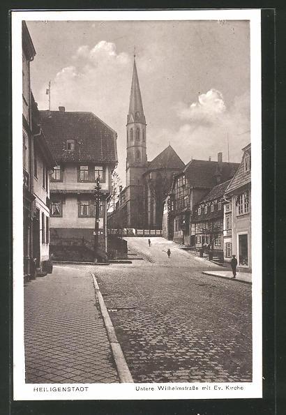 AK Heiligenstadt, Untere Wilhelmstrasse mit evangelischer Kirche