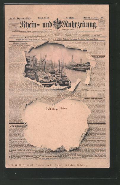 AK Duisburg, Rhein und Ruhrzeitung von 1901 0