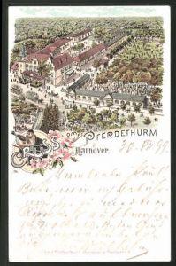 Lithographie Hannover, Ortspartie vom Pferdeturm aus gesehen 0