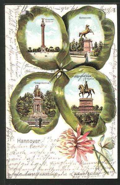 Passepartout-Lithographie Hannover, Kleeblatt mit Sachsenross, Waterloo-Denkmal, Kriegerdenkmal, Ernst-August-Denkmal