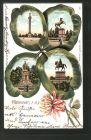 Passepartout-Lithographie Hannover , Kleeblatt mit Waterloo-Denkmal, Sachsenross und Kriegerdenkmal 0