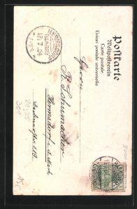 Passepartout-Lithographie Hannover , Kleeblatt mit Waterloo-Denkmal, Sachsenross und Kriegerdenkmal 1