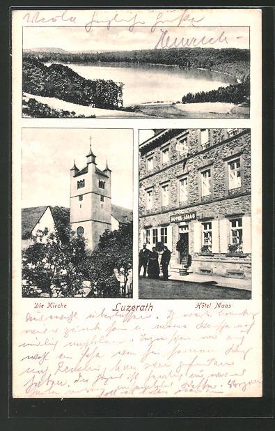 AK Lutzerath, Hotel Maas, See, Kirchpartie 0