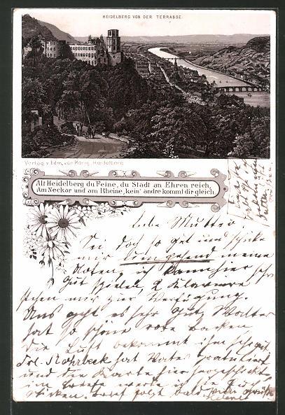 Vorläufer-Lithographie Heidelberg, 1895, Ortsansicht von der Terrasse mit Schloss und Neckar 0