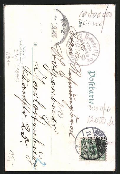 Vorläufer-Lithographie Heidelberg, 1895, Ortsansicht von der Terrasse mit Schloss und Neckar 1