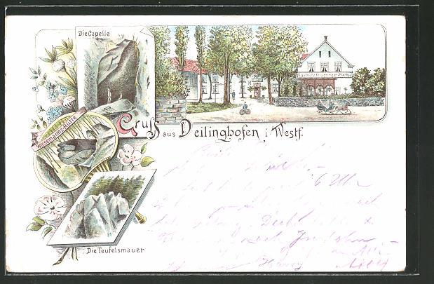 Lithographie Deilinghofen, Gasthof zum Felsenmeer von Platthau, Capelle, Teufelsmauer 0