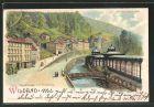 Lithographie Bad Wildbad, Olgastrasse mit Trinkhalle, Halt gegen das Licht: Ansicht bei Vollmond 0