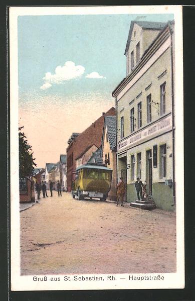 AK St. Sebastian, Hauptstrasse mit Gasthof zur Krone 0