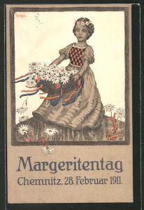 Künstler-AK Chemnitz, Margeritentag 28.2.1911, Mädchen mit Korb voller Margeriten 0