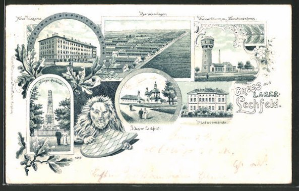 Lithographie Lager Lechfeld, Barackenlager. Platzcomando, Kloster Lechfeld