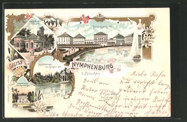 Lithographie München-Nymphenburg, Schloss, Magdalenenkapelle