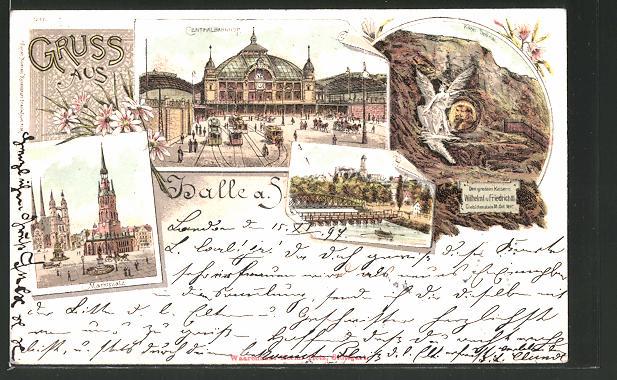 Lithographie Halle / Saale, Strassenbahnen am Centralbahnhof, Marktplatz