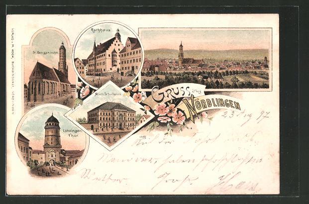 Lithographie Nördlingen, Rathaus, Neues Schulhaus, Löbsinger-Thor
